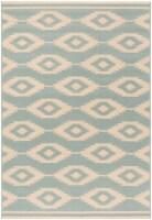 Martha Stewart Beach House Indoor / Outdoor Area Rug - Cream / Aqua - 5 x 7 ft