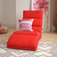 Pemberly Row Memory Foam Adjustable Wave Lounger Floor Chair in Red Microfiber - 1