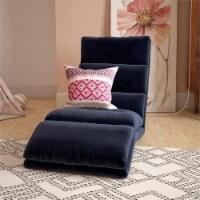 Pemberly Row Memory Foam Adjustable Wave Lounger Floor Chair in Blue Microfiber - 1