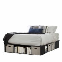 Bowery Hill Queen Storage Platform Bed in Black Oak - 1
