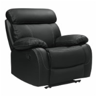 Pemberly Row 42  Contemporary Leather Reclining Chair in Black - 1