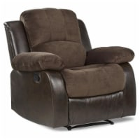 Pemberly Row Traditional Microfiber Reclining Chair in Chocolate - 1