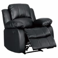 Pemberly Row Traditional Faux Leather Reclining Chair in Black - 1