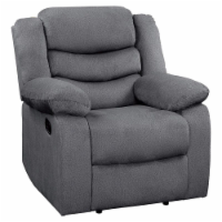 Pemberly Row Traditional Microfiber Reclining Chair in Gray - 1