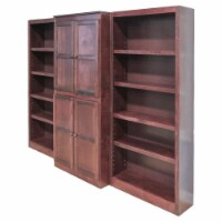 Bowery Hill Traditional 72  15-Shelf Wood Bookcase Wall with Doors in Cherry - 1