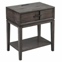 Bowery Hill Drawer Nightstand with Top AC/USB Charger in Oak - 1