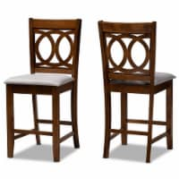 Bowery Hill Gray Upholstered Walnut Finished Wood 2-Piece Pub Chair Set - 1