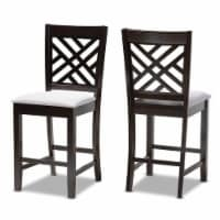 Bowery Hill 25 H Upholstered Wood Bar Stool in Gray and Brown (Set of 2) - 1