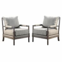 Home Square 2 Piece Solid Wood Living Room Accent Chair Set in Rustic Oak/Taupe - 1