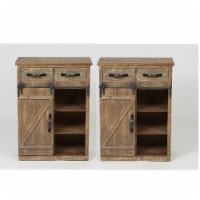 Home Square 2 Piece Wood Sliding Barn Door Cabinet Set in Brown - 1