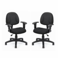 Home Square 2 Piece DX Posture Office Chair with Adjustable Arms Set in Black - 1