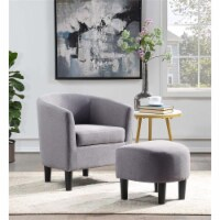 Pemberly Row Contemporary Accent Chair with Ottoman in Gray Linen Fabric - 1