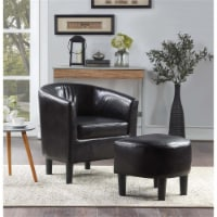 Pemberly Row Contemporary Accent Chair with Ottoman in Black Faux Leather Fabric - 1