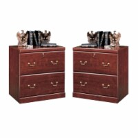 Home Square 2 Drawer Wood Filing Cabinet Set in Classic Cherry (Set of 2) - 1