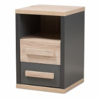 Bowery Hill 2 Drawer Nightstand in Gray and Oak Brown - 1