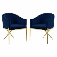 Home Square 2 Piece Velvet Dining Chair Set with Gold Metal Base in Navy Blue - 1