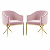 Home Square 2 Piece Velvet Dining Chair Set with Gold Metal Base in Pink - 1