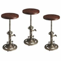 Home Square 3 Piece Industrial Chic Adjustable Bar Stool Set in Dark Brown - 1