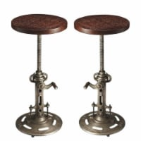 Home Square 2 Piece Industrial Chic Adjustable Bar Stool Set in Dark Brown - 1