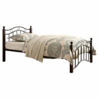 Pemberly Row Traditional Metal Frame Twin Platform Bed in Black and Brown - 1