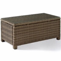 Pemberly Row 40  Glass Top Patio Coffee Table in Brown - 1