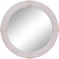 Leeds & Co 36 D White Coastal Rope Round Wall Mirror - 1