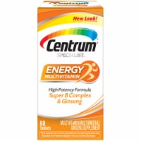 Centrum Specialist Energy Multivitamin / Multimineral / Ginseng Supplement Tablets 60 Count