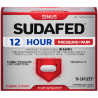 Sudafed 12-Hour Non-Drowsy Sinus Pressure + Pain + Congestion Relief Caplets - 16 ct