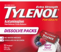 Tylenol Extra Strength Pain Reliever & Fever Reducer Berry Flavor Dissolve Packets 500mg - 32 ct