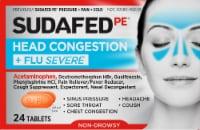 Sudafed PE Head Congestion & Flu Severe Tablets - 24 ct