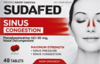 Sudafed Non-Drowsy Sinus + Congestion Maximum Strength Tablets