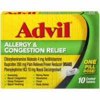Advil Allergy & Congestion Relief Coated Tablets 200mg 10 Count
