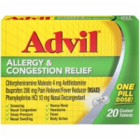 Advil Allergy & Congestion Relief Coated Tablets 200mg 20 Count