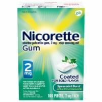 Nicorette Spearmint Burst Nicotine Gum 2mg 100 Count
