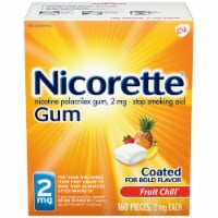 Nicorette Smoking Cessation Fruit Chill Nicotine Gum 2mg 160 Count