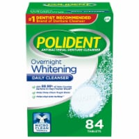 Polident Overnight Whitening Antibacterial Denture Cleanser Tablets 84 Count