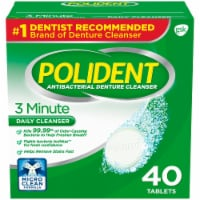 Polident 3 Minute Triple Mint Denture Cleanser Tablets 40 Count