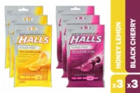HALLS Sugar Free Honey Lemon and Black Cherry Cough Suppresant Drops