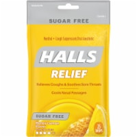 HALLS Relief Sugar Free Honey Lemon Flavor Cough Suppressant Drops