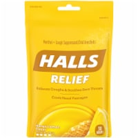 HALLS Relief Honey Lemon Flavored Cough Suppressant Drops 30 Count