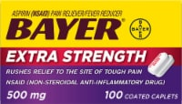 Bayer Extra Strength Aspirin Pain Reliever Coated Caplets 500mg