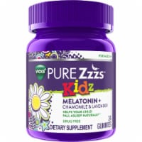 Vicks PURE Zzzs Kidz Melatonin Lavender Chamomile Sleep Aid Gummies for Kids & Children Berry Flavor