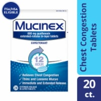 Mucinex Expectorant 12-Hour Chest Congestion Expectorant Relief Medicine Bi-Layer Tablets 20 Count - 20 ct