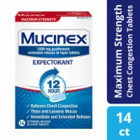 Mucinex Maximum Strength 12-Hour Chest Congestion Expectorant Relief Medicine 1200mg Tablets