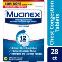 Mucinex Maximum Strength 12 Hour Chest Congestion Expectorant Relief Medicine 1200mg Tablets