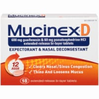 Mucinex D Expectorant & Nasal Decongestant 600mg Tablets