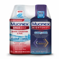 Mucinex Sinus-Max Clear & Cool and Nightshift Cold & Flu Relief Liquids 2 Count