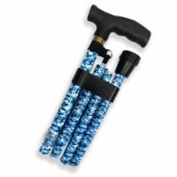 Designer Folding Cane - Blue Camo - 1