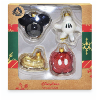 Disney Parks Mickey Mouse Body Parts Glitter Christmas Ornament Set New With Box - 1