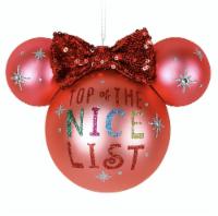 Disney Parks Minnie Nice List Glass Ball Christmas Ornament New With Tag - 1
